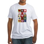 Heart Quilt Pattern Fitted T-Shirt