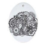 Pen and Ink Detailed Line Dra Ornament (Oval)