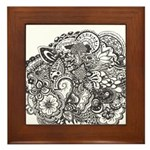 Pen and Ink Detailed Line Dra Framed Tile