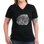 Pen and Ink Detailed Line Dra Women's V-Neck Dark