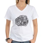 Pen and Ink Detailed Line Dra Women's V-Neck T-Shi