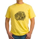 Pen and Ink Detailed Line Dra Yellow T-Shirt