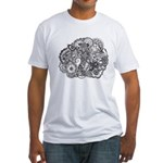 Pen and Ink Detailed Line Dra Fitted T-Shirt