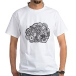 Pen and Ink Detailed Line Dra White T-Shirt