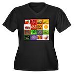 Rainbow Foods Women's Plus Size V-Neck Dark T-Shir