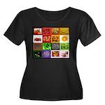 Rainbow Foods Women's Plus Size Scoop Neck Dark T-