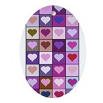 Pink and Purple Heart Squares Ornament (Oval)