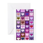 Pink and Purple Heart Squares Greeting Cards (Pk o