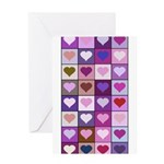 Pink and Purple Heart Squares Greeting Card