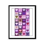 Pink and Purple Heart Squares Framed Panel Print
