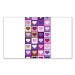 Pink and Purple Heart Squares Sticker (Rectangle 5