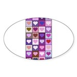 Pink and Purple Heart Squares Sticker (Oval)