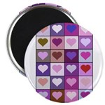 Pink and Purple Heart Squares Magnet