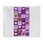 Pink and Purple Heart Squares Throw Blanket