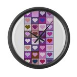 Pink and Purple Heart Squares Large Wall Clock