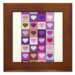 Pink and Purple Heart Squares Framed Tile