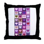 Pink and Purple Heart Squares Throw Pillow