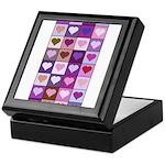 Pink and Purple Heart Squares Keepsake Box