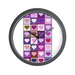 Pink and Purple Heart Squares Wall Clock