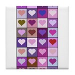 Pink and Purple Heart Squares Tile Coaster