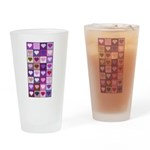 Pink and Purple Heart Squares Drinking Glass