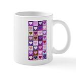 Pink and Purple Heart Squares Mug