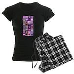 Pink and Purple Heart Squares Women's Dark Pajamas