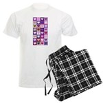 Pink and Purple Heart Squares Men's Light Pajamas