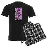 Pink and Purple Heart Squares Men's Dark Pajamas