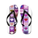 Pink and Purple Heart Squares Flip Flops