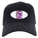 Pink and Purple Heart Squares Black Cap