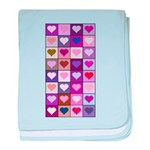 Pink and Purple Heart Squares baby blanket