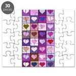 Pink and Purple Heart Squares Puzzle