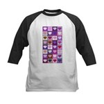 Pink and Purple Heart Squares Kids Baseball Jersey