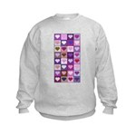 Pink and Purple Heart Squares Kids Sweatshirt