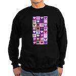 Pink and Purple Heart Squares Sweatshirt (dark)