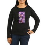 Pink and Purple Heart Squares Women's Long Sleeve
