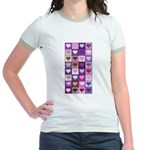 Pink and Purple Heart Squares Jr. Ringer T-Shirt