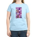 Pink and Purple Heart Squares Women's Light T-Shir