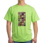 Pink and Purple Heart Squares Green T-Shirt