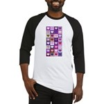 Pink and Purple Heart Squares Baseball Jersey