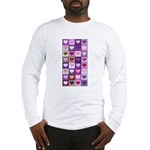 Pink and Purple Heart Squares Long Sleeve T-Shirt
