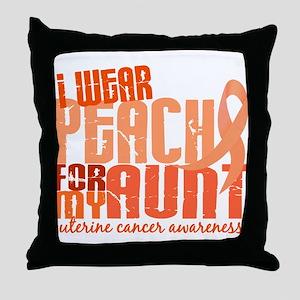 I Wear Peach 6.4 Uterine Cancer Throw Pillow