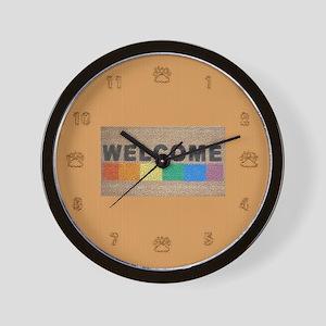 RAINBOW WELCOME MAT ON TAN Wall Clock