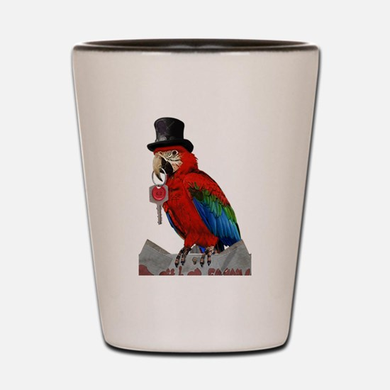 Recast Pirate Cursing Bird Parrot Shot Glass