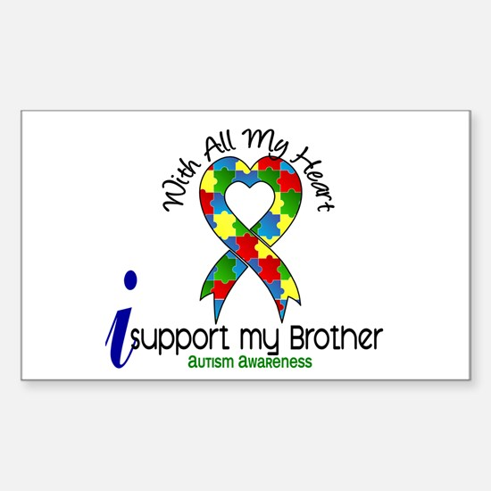 With All My Heart Autism Sticker (Rectangle)