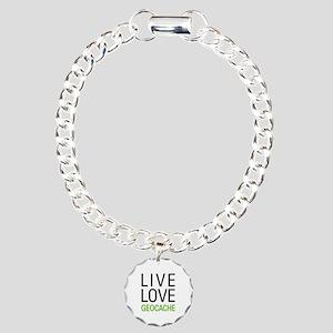 Live Love Geocache Charm Bracelet, One Charm