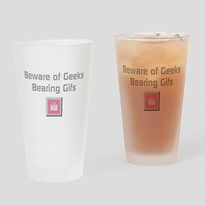 Geeks Bearing Gifs (silver) Drinking Glass