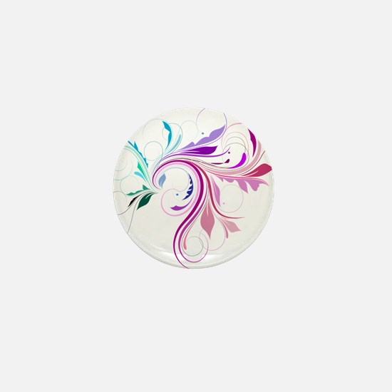 Colorful flourish Mini Button