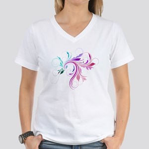 Colorful flourish Women's V-Neck T-Shirt